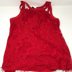 New with tag Express Red Lace Top Size S